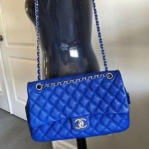 44f7a7bea610 CHANEL. Chanel Caviar Jumbo Easy Flap Blue Silver